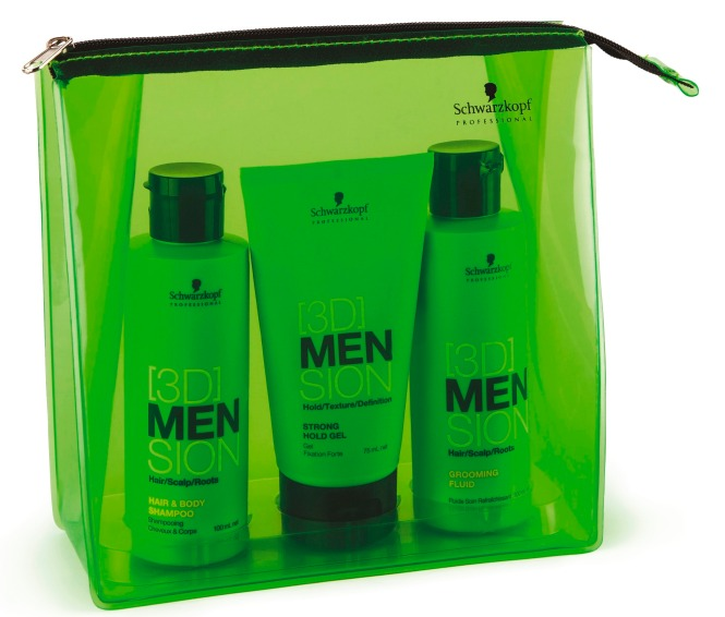 Das Travel Kit von [3DMension lässt Männerherzen höher schlagen und beinhaltet Hair & Body Shampoo, Grooming Fluid sowie Strong Hold Gel.